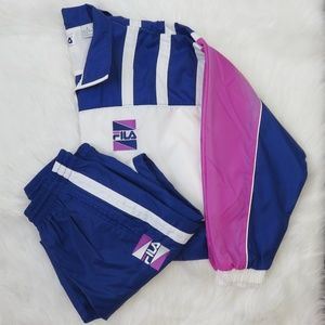 Fila Blue/White/Pink Vintage Nylon Track Suit